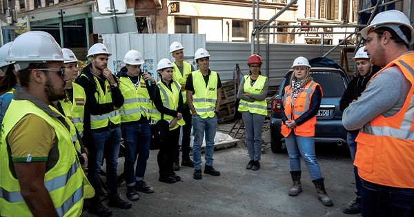 Visite de chantier de l'Hôtel des Vosges avec les étudiants de l'INSA